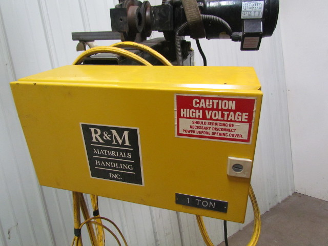 R&M Spacemaster II 2 Ton 4000lb Wire rope Electric Crane Hoist 20'lift  Trolley