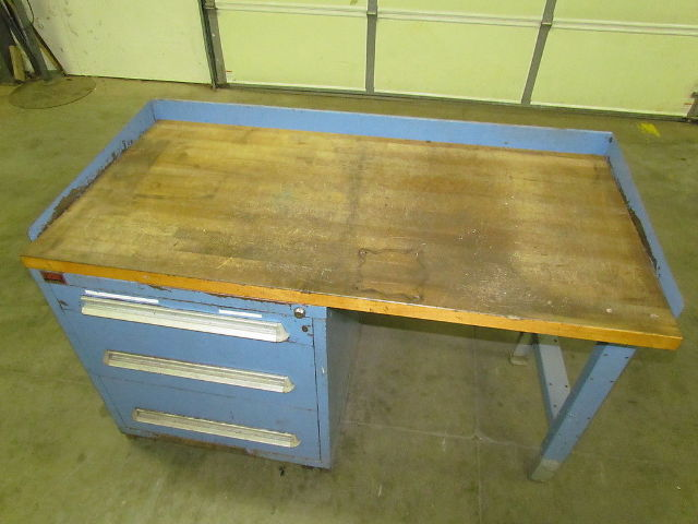 Lyon 35hx60wx30d butcher block workbench 3 drawer parts for Butcher block manufacturers