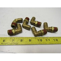 """90° Elbow Brass Fitting 3/8""""NPT Female to 3/8"""" Air Hose Push to Connect Lot of 6"""
