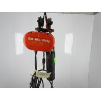 CM Lodestar Model L 1 Ton Electric Chain Hoist 23' Lift 16FPM 3Ph Push Trolley
