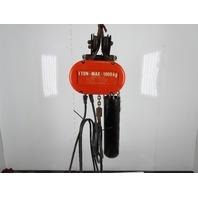 CM Lodestar Model L 1 Ton Electric Chain Hoist 22' Lift 16FPM 3Ph Push Trolley