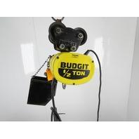 Budgit BEH5032 1/2 Ton 1000LB Electric Chain Hoist 2 Speed 20' Lift 460V Trolley