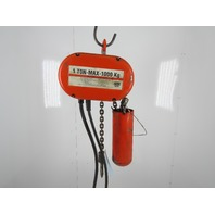 CM Lodestar Model L 1 Ton 2000LB Electric Chain Hoist 11' Lift 16FPM 3PH 480V