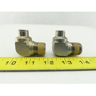 "1/2"" NPT To 3/8"" Tube Push To Connect 90° Elbow Stainless Steel Fitting Lot of 2"