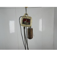 "Coffing JF1 1Ton Electric Chain Hoist 8FPM 8'6""Lift 115/230V Single Phase 1Ph"
