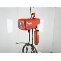 Dayton 9N100B 1 Ton 2000Lb. 230/460V 3Ph Electric Chain Hoist 11' Travel 16FPM