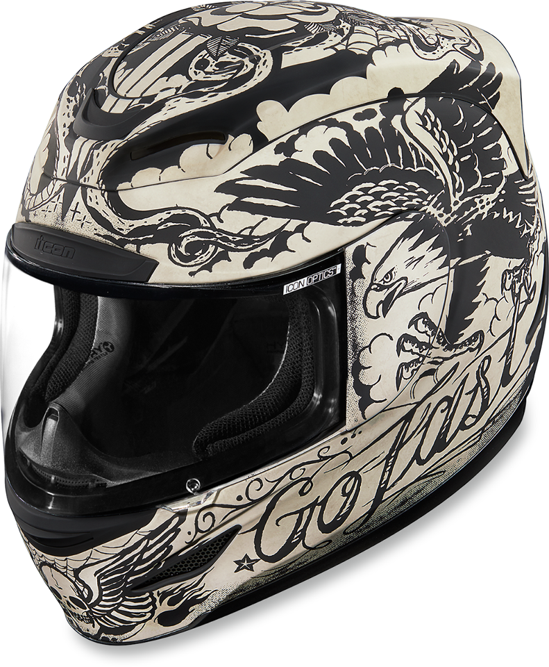 Icon black airmada gloss motorcycle full face street helmet shield DOT ECE 22-05