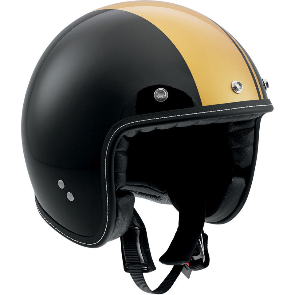 agv rp60 cafe racer 3/4 black & gold motorcycle helmet | jt's cycles