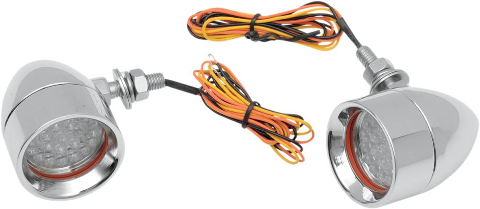 Custom Dynamics Chrome Mini Bullet Amber Led Turn Signal
