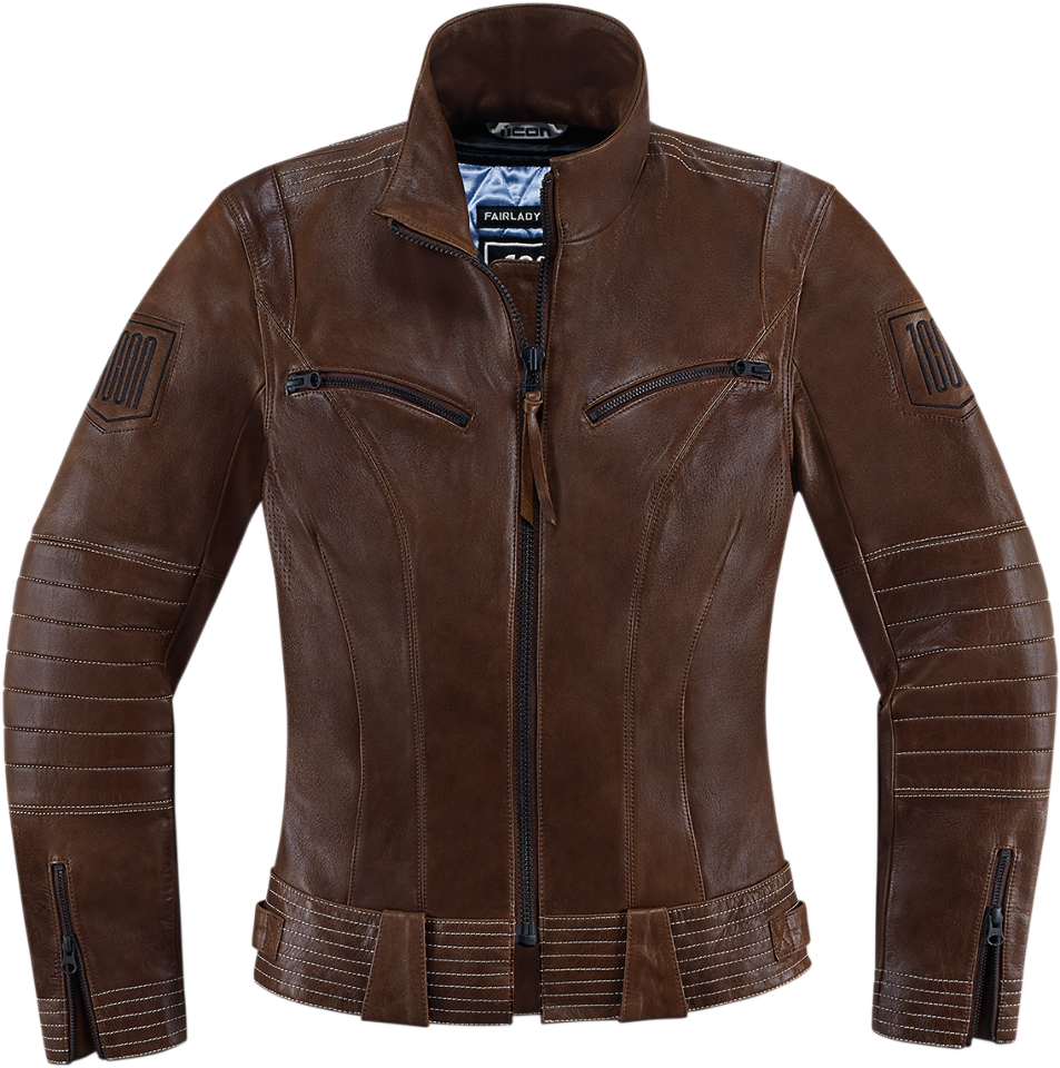 Leather jacket for motorcycle riding -  Icon 1000 Womens Ladies Fairlady Leather Motorcycle Riding Jacket Brown Black