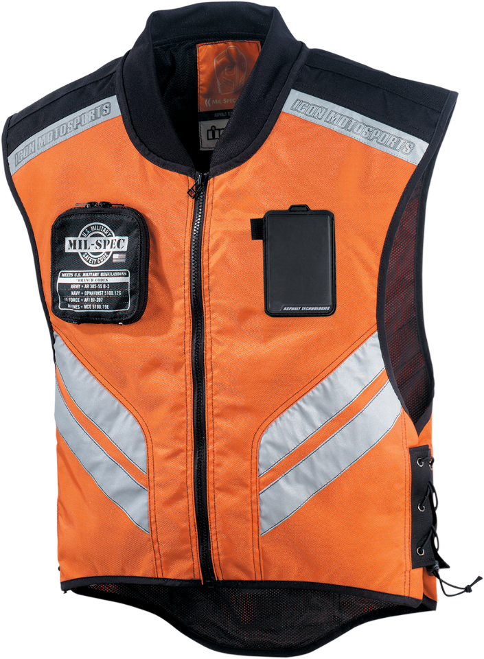 icon mens orange mil spec mesh motorcycle military riding reflective vest harley jt 39 s cycles. Black Bedroom Furniture Sets. Home Design Ideas