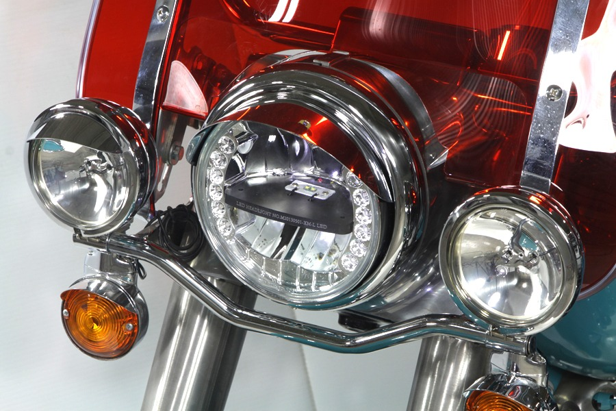 Vtwin 7 Quot Led Headlight Integrated Turn Signals Harley