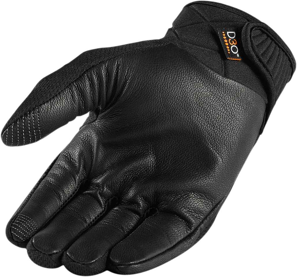 Womens leather motorcycle riding gloves - Icon Black Anthem 2 Womens Touchscreen Leather Textile Motorcycle Riding Gloves