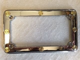 jts cycles 380 genuine once fired bullets chrome license plate frame harley