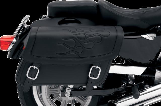 Saddlemen large black flame highwayman tattoo zip off saddlebag Honda Victory