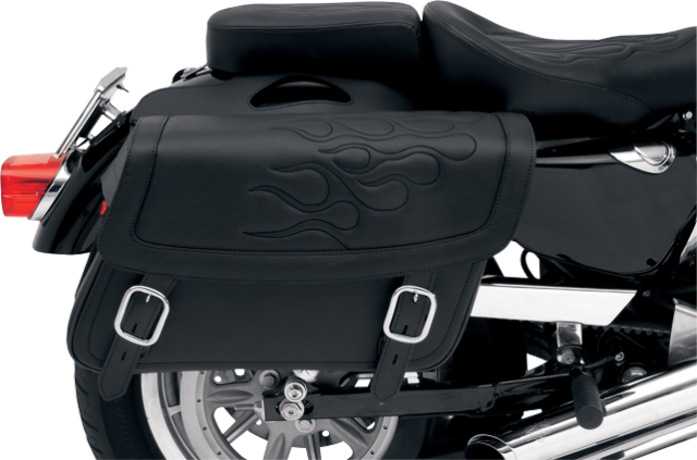 Saddlemen jumbo black flame highwayman tattoo zip off saddlebag Honda Victory