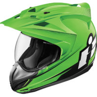 Mens Icon Green Double Stack Variant Fullface Motorcycle Riding Street Helmet