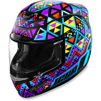 Icon Unisex Gloss Blue Feoracer Motorcycle Riding Fullface Street Racing Helmet
