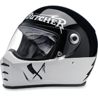 Biltwell Black & Sliver Lane Splitter Rusty Butcher Fullface Motorcycle Helmet