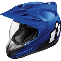 Mens Icon Blue Double Stack Variant Fullface Motorcycle Riding Street DOT Helmet