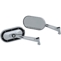 "Kuryakyn 1765 Pair Chrome Heavy Industry Slotted 6"" Front Motorcycle Mirror Set"