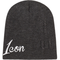 Mens Icon Gray Acrylic Unisex Feedback Casual Motorcycle Beanie