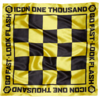 Icon Motorcycle Black Yellow Mens Slickery Satin Tie On Neck Wrap Scarf Harley