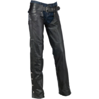 Womens Z1R black carbine leather motorcycle biker street chaps
