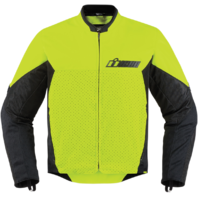 Mens Icon Yellow Textile Stealth Konflict Motorcycle Riding Street Racing Jacket