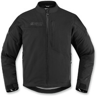 Mens Icon Black Long Sleeve Textile Tarmac Motorcycle Riding Street Racing Jacket