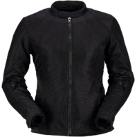 Womens Z1R Black Solid Mesh Gust Motorcycle Riding Street Racing Zipper Jacket