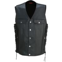 Mens Z1R 30-30 adjustable side lace black leather motorcycle biker street vest