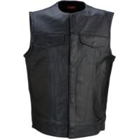 Mens Z1R black 338 leather motorcycle biker street riding vest