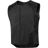 Mens Icon Black Hypersport Stripped Leather Motorcycle Riding Street Racing Vest