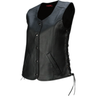 Womens Z1R Black Colt Leather Motorcycle Biker Street Sleeveless Vest