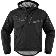 Mens Icon Black PDX 2 Textile Motorcycle Riding Waterproof Rain Street Jacket