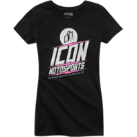 Women's Icon Black Charged Short Sleeve Cotton Casual Motorcycle T-Shirt
