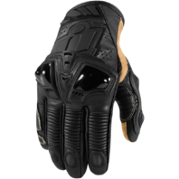Mens Icon Black Leather Hypersport Pro Motorcycle Riding Street Racing Gloves