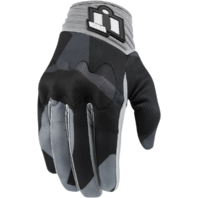 Mens Icon Anthem Deployed Gray Textile Motorcycle Riding Street Racing Gloves