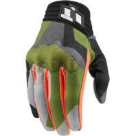 Mens Icon Anthem Deployed Green Textile Motorcycle Riding Street Racing Gloves