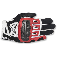 Mens Alpinestars Leather Black Red White SMK2 v2 Motorcycle Street Riding Gloves