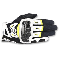 Mens Alpinestars Leather Black Yellow White SMK-2 v2 Motorcycle Riding Gloves
