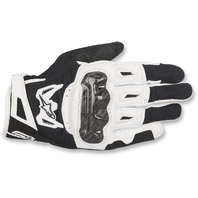 Mens Alpinestars Leather Black White SMK-2 v2 Motorcycle Street Riding Gloves