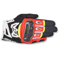 Mens Alpinestars Leather Black Red Yellow White SMK2 v2 Motorcycle Riding Gloves