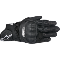 Mens Alpinestars Pair Black SP5 Leather Motorcycle Riding Street Racing Gloves