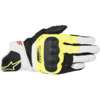 Mens Alpinestars SP5 Black White Yellow Leather Motorcycle Riding Street Gloves