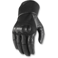 Mens Icon Black Tarmac Leather Pair Motorcycle Riding Street Racing Gloves