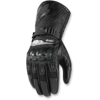 Mens Icon Black Pair Leather Patrol Motorcycle Riding Street Racing Gloves