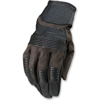 Mens Z1R Black Leather Bolt Short Cuff Motorcycle Riding Street Racing Gloves