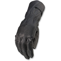 Mens Z1R Long Cuff Black Leather Recoil Motorcycle Riding Street Racing Gloves